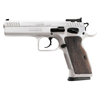 "EAA Witness Elite Stock II 9mm Luger 4.5"" Barrel W/ Adjustable Sights 17+1 Walnut Grip/Chrome 600605"