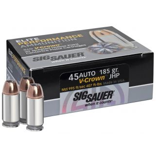 Sig Sauer V-Crown JHP 45ACP 185 Grain Brass 20 Box/10 Case E45AP020