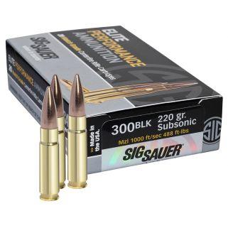 Sig Sauer Match Grade OTM 300 AAC Blackout/Whisper 220 Grain Brass 20 Box/25 Case E300A220