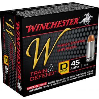 Winchester W-Train & Defend 45ACP 230 Grain JHP 20 Round Box W45D