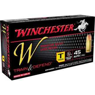 Winchester W-Train & Defend 45ACP 230 Grain Brass 50 Round Box W45T