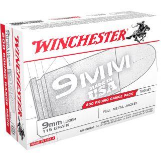 Winchester USA 9mm Luger 115 Grain FMJ 200 Round Box USA9W