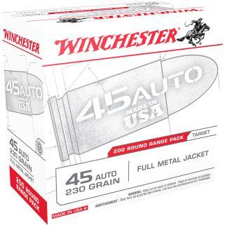 Winchester USA 45ACP 230 Grain FMJ 200 Round Box USA45W
