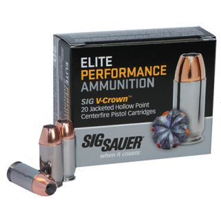 Sig Sauer V-Crown JHP 38 Super 125 Grain Brass 20 Box/10 Case E38SU120