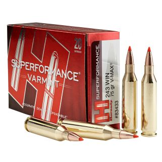 Hornady Superformance Varmint 243WIN 75 Grain V-Max 20 Round Box 83433