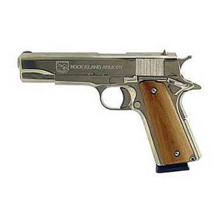 "Rock Island 1911 Standard GI 45ACP 5"" Barrel W/ Fixed Sights 8+1 Wood Grip/Nickel 51433"
