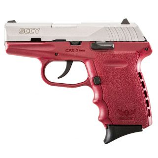 """Sccy CPX-2 9mm 3.1"""" Barrel No Thumb Safety Fixed Sights 10+1 Stainless/Crimson CPX2TTCR"""