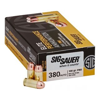 Sig Sauer Elite Performance 380Acp 100 Grain FMJ E380B1-50 50 Round Box