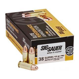 Sig Sauer Elite Ball FMJ 38 Super 125 Grain Brass 50 Box/20 Case E38SUB50