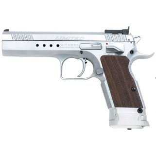 "EAA Witness Limited 9mm 4.75"" Barrel W/ Adjustable Sights 17+1 Wlanut Grip/Chrome 600310"