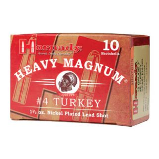 "Hornady Heavy Magnum Shotgun 12 Gauge #4 Nickel 3"" Turkey 10 Round Box 86242"