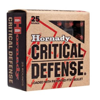 Hornady Critical Defense Lite 9mm Luger 100 Grain FTX 25 Round Box 90240