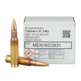 MEN Metallwerk .308 Win/7.62x51mm NATO 147 Grain 20Rd Box 762A