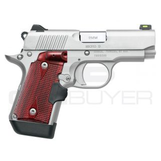 """Kimber Micro 9 Stainless 9mm 3.15"""" Barrel 7+1 Rosewood Crimson Trace Lasergrips 3700482"""