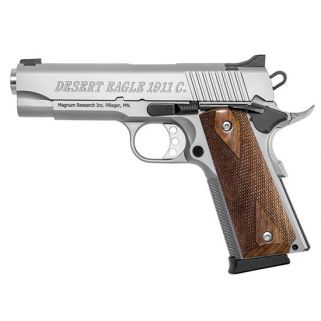 """Magnum Research 1911 C Model Desert Eagle 45ACP 4.33"""" Barrel W/ High Profile Sculptured Rear-Pinned Front Sights 8+1 Matte Stainless DE1911CSS"""