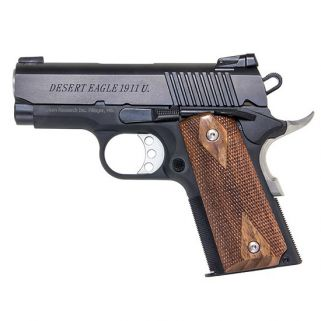 "Magnum Research 1911 U Model Desert Eagle 45 ACP 3"" Barrel W/ Adjustable Rear-Pinned Front Sights 6+1 Checkered Wood Grip/Black DE1911U"