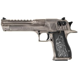 "Magnum Research Desert Eagle 44 Magnum 6"" Barrel W/ Combat-Fixed Sights 8+1 Grim Reaper Grip/White Matte Distressed DE44WMDR"
