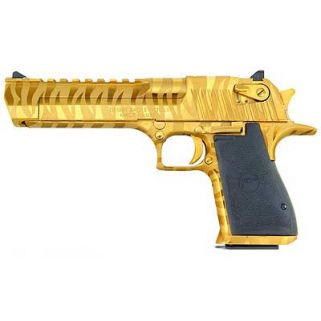 """Magnum Research Desert Eagle 44 Magnum 6"""" Barrel W/ Combat-Fixed Sights 8+1 Black/Titanium Gold Tiger Stripes DE44TGTS"""