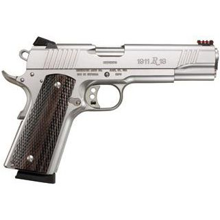 "Remington 1911 R1 Enhanced 45ACP 5"" Barrel W/ Fiber Optic Sights 8+1 2 Mags Walnut Grip/Stainless 86329"