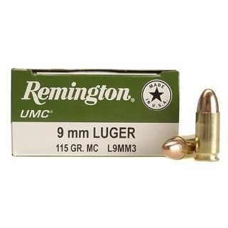 Remington UMC 9mm Luger 115 Grain Brass 50 Round Box L9MM3