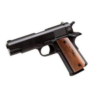 """Rock Island Armory 1911 GI 45ACP 4.25"""" Barrel W/ Fixed Sights 8+1 *MA Compliant* Wood Grip/Black 51417MA"""