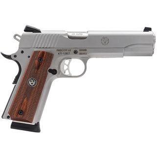 "Ruger SR1911 45ACP 5"" Barrel W/ Windage Adjustabe Novak 3 Dot Sights 8+1 Wood Grip/Stainless 6700"