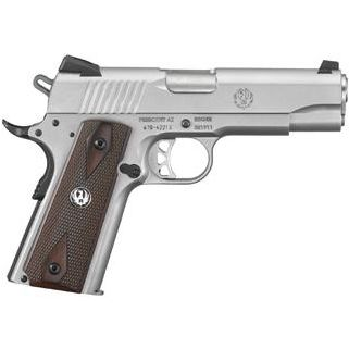 "Ruger SR1911 Commander 45ACP 4.25"" Barrel W/ Novak 3 Dot Sights 7+1 Hardwood Grip/Stainless 6702"