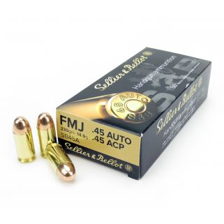 Sellier & Bellot 45ACP FMJ 230 Grain 50 Rd Box SB45A