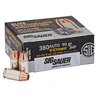 Sig Sauer V-Crown Elite Performance JHP 380ACP 90 Grain 20Rd Box E380A120