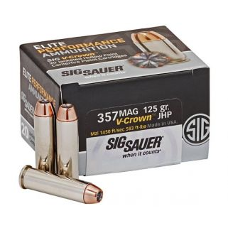 Sig Sauer V-Crown JHP 357 Magnum 125 Grain 20Rd Box E357S120