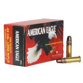 Federal American Eagle 22LR Copper Plated Hollow Point 38 Grain 40Rd Box AE22