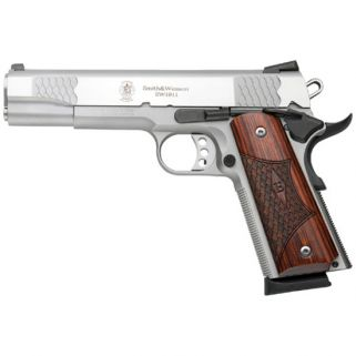"S&W 1911 45ACP 5"" Barrel 8+1 Wood Grip/Stainless 108482"
