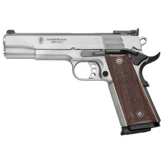 "Smith & Wesson 1911 9mm Pro 5"" Barrel 10+1 Wood Grip/Stainless 178047"