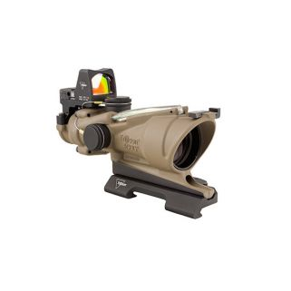 Trijicon ACOG 4x32 Flat Dark Earth Scope, Dual Illumination Green Crosshair Reticle w/ 3.25 MOA RMR Sight TA31ECOSG