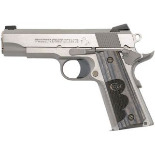 "Colt Wiley Clapp Commander 45ACP 4.25"" Barrel W/ Novak Sights Wood Grips/Brushed Stainless O4040WC"