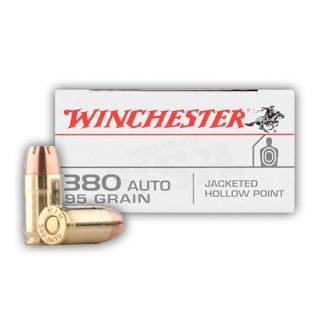 Winchester USA 380ACP 95 Grain JHP 50 Round Box USA380JHP