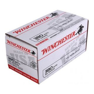 Winchester USA 380ACP 95 Grain FMJ 100 Round Box USA380VP