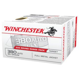 Winchester USA 380ACP 95 Grain FMJ 200 Round Box USA380W