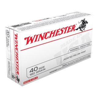 Winchester USA 40S&W 180 Grain JHP 50 Round Box USA40JHP