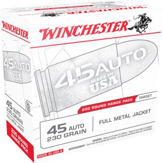 Winchester USA 45ACP 230 Grain FMJ 200 Round Box USA45W