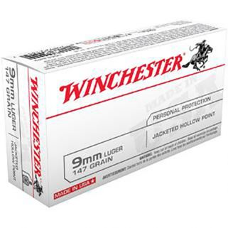 Winchester USA 9mm Luger 147 Grain JHP 50 Round Box USA9JHP2