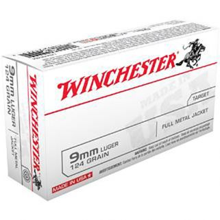 Winchester USA 9mm Luger 124 Grain FMJ 50 Round Box USA9MM