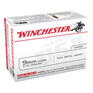 Winchester USA 9mm Luger 115 Grain FMJ 100 Round Box USA9MMVP