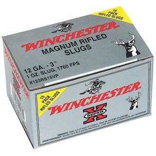 """Winchester Super-X 12 Gauge Slug Shot 3"""" 15 Round Box X123RS15VP"""
