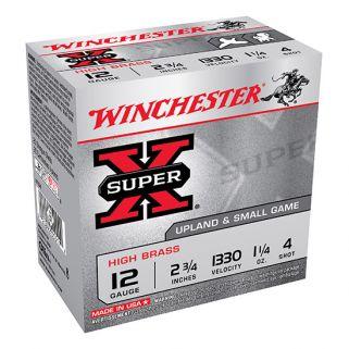 """Winchester Super-X High Brass 12 Gauge 4 Shot 2.75"""" 25 Round Box X124"""