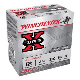 """Winchester Super-X High Brass 12 Gauge 8 Shot 2.75"""" 25 Round Box X128"""
