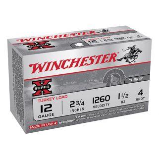 """Winchester Super-X Turkey Load 12 Gauge 4 Shot 2.75"""" 10 Round Box X12MT4"""
