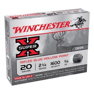 """Winchester Super-X 20 Gauge Rifled Shot 2.75"""" 5 Round Box X20RSM5"""