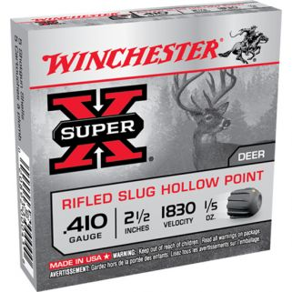 "Winchester Super-X 410 Gauge Rifled Shot 2.5"" 5 Round Box X41RS5"