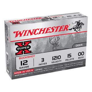 "Winchester Super-X 12 Gauge 00 Buck 3"" 5 Round Box XB12300"